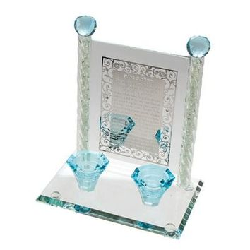 Crystal Candlesticks 24cm- Light Blue with Candle Lighting Inscribed Plaque