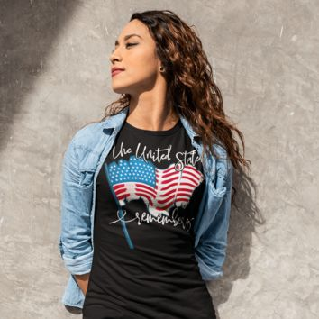 Women's American Flag T-Shirt United States Remembers 4th July Shirt America Shirts Memorial Day Shirt