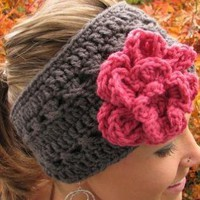 Charcoal Gray Headband With Flower and Vegan Coconut Shell B