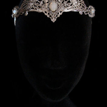 Elven Crown Circlet Wedding Tiara Bridal Elvish Fairy Medieval Fantasy White Opal Queen Silver Elf Moon Goddess Jewellery