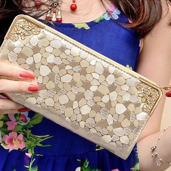 2016 Fashion Women Retro National Wind Leather Wallet Double Pull Purse