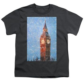 Pastel Painting Of Big Ben Tower In London - Youth T-Shirt