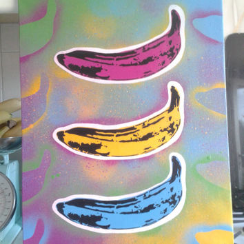 Andy Warhol painting, bananas canvas,pop,fruit,velvet underground,kitchen,stencil art,urban,graffiti,pink,blues,yellows,artist,original,