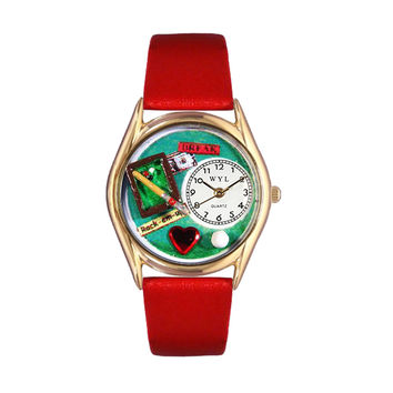 Whimsical Watches Healthcare Nurse Gift Accessories Billiards Red Leather And Goldtone Watch