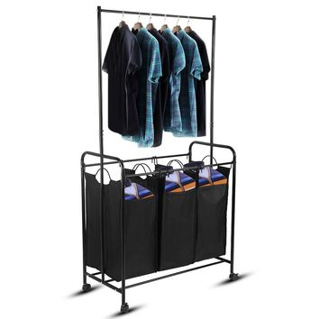 3 Durable Removable Laundry Sorter Cart with Clothes Detachable