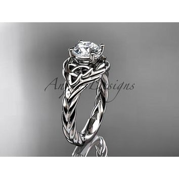 "14kt white gold celtic trinity twisted rope wedding ring with a ""Forever One"" Moissanite center stone RPCT9125"