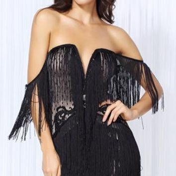 Sin City Black Lace Fringe Strapless Off The Shoulder Bodycon Mini Dress