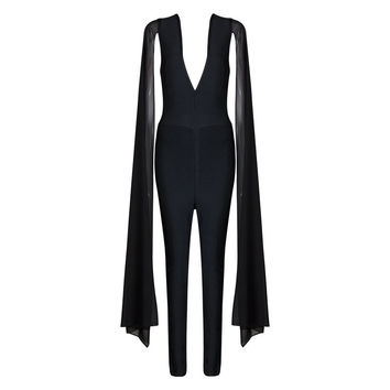 2016 Black Fashion Outfits for Women Hot Sexy Deep v Bandage Jumpsuit with Batwing Sleeve
