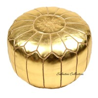 Gold Leather Pouf | Moroccan Gold Poufs | Moroccan Poufs