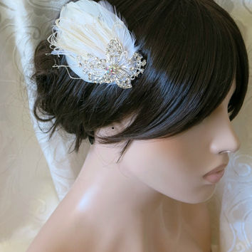 Bridal Feather Hairpiece Rhinestone Butterfly,1920s, Ivory, White, Bridal Head Piece, Feather Fascinator,
