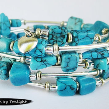 Turquoise Chip & Silver Plated Memory Wire Bracelet - 5 Loops - Large Wrist Size