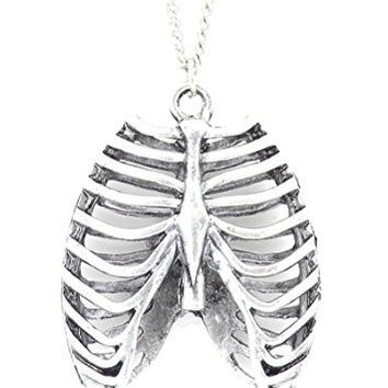 Human Ribcage Necklace Vintage Silver Tone Chest Bones Skeleton Pendant NQ20 Fashion Jewelry