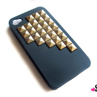 Back to School SALE- STUDDED IPHONE black case gold bronze studs verizon at&t iPhone4 iPhone 4s hard plastic case