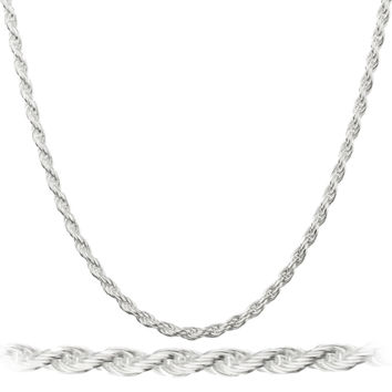 925 Sterling Silver 2mm Nickel Free Rope Chain Necklace 7-40inch