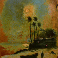 Original Oil Painting on Cardboard Attributed to Ferdinand du Puigandeau, French Antique Art, Coastal Seascape Painting, 1920s Painting