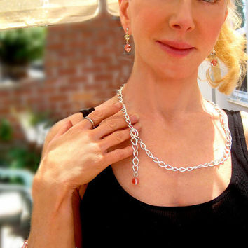 Silver Chain Necklace, Chunky, Twisted Cable Chain, Swarovski Rose Peach Crystal, Bead Drop