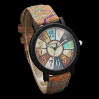 Lovers' Fashion Wood Watch Men Multicolour Turntable Watches Men's Women's Watches Wooden Watch Women Leather Clock saat relogio
