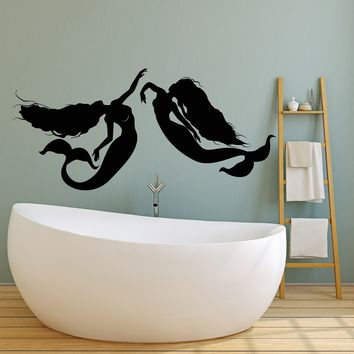 Vinyl Wall Decal Mermaids Beautiful Sexy Fantastic Creatures Silhouette Stickers (2586ig)