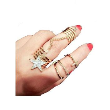 Knuckle star Band Midi  Ring For Women