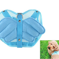 Adjustable Mesh Pet Harness & Leash with Angel Wing Design (Blue)