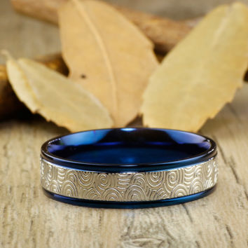 Handmade Blue Wedding Band, Men Ring, Couple Ring, Titanium Ring, Anniversary Ring, Promise Ring