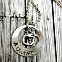 """BDSM """"Owned"""" Hand Stamp Charm Necklace With Handcuffs / Owned Personalized Cage And Handcuff Necklace / BDSM Owned Necklace"""