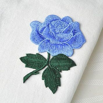 Blue Rose Patch-Cornflower Blue & Forest Green