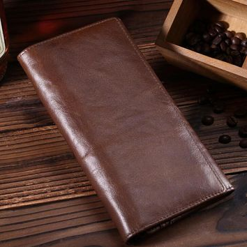 womens mens retro genuine leather long wallet handmade card hold purse 07 2