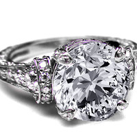 Engagement Ring - Large Round Diamond Cathedral Graduated pave Engagement Ring 1.25 tcw. In 14K White Gold - ES745BRWG