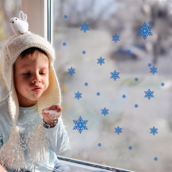DIY Blue Snowflake window glass cabinet sticker Wedding Christmas supplies 1442 home decoration