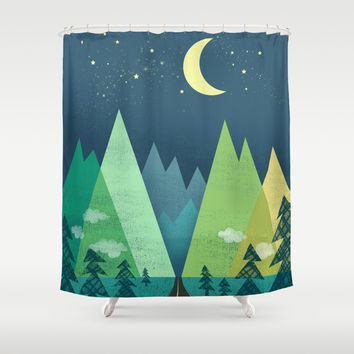 The Long Road at Night Shower Curtain by Jenny Tiffany
