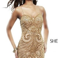 Short Beaded Spaghetti Strap Dress by Sherri Hill