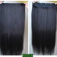 """24"""" Long Straight Clip on in Hair Extensions One Piece for Full Head 6 Colors (black)"""
