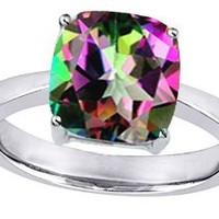 Star K 10mm Cushion-Cut Solitaire Ring Mystic Rainbow Topaz Size 7
