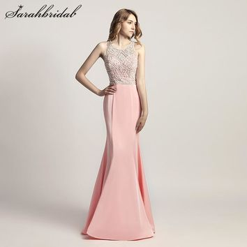 Charming Elegant Mermaid Long Evening Dresses Satin pearls Back Zip O-Neck Sleeveless Prom Party Gown Beading Floor Length LX420