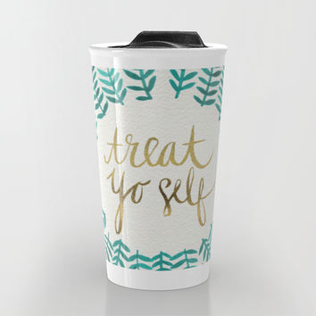 Treat Yo Self – Gold & Turquoise Travel Mug by Cat Coquillette