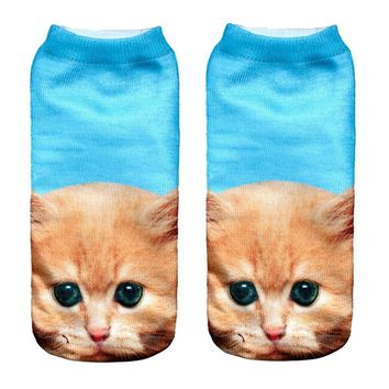 2017 3D Printed Animal Women Sport Socks Unisex Low Cut Ankle sport socks women