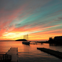 Autumn Sunrise Bar Harbor maine Art Print by Wood-n-Images