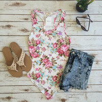 Rose Tank Bodysuit-White