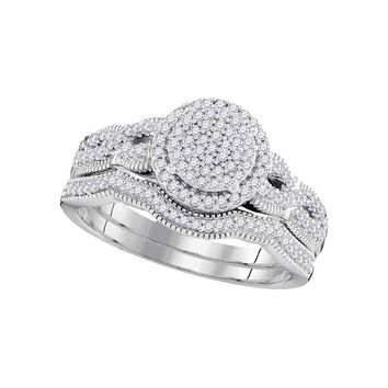 10kt White Gold Womens Round Diamond Milgrain Twist Bridal Wedding Engagement Ring Band Set 3/8 Cttw