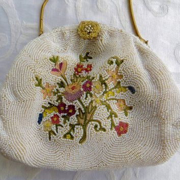 Vintage Beaded Handbag Floral Beaded Bag Made in Belgium Wedding Purse