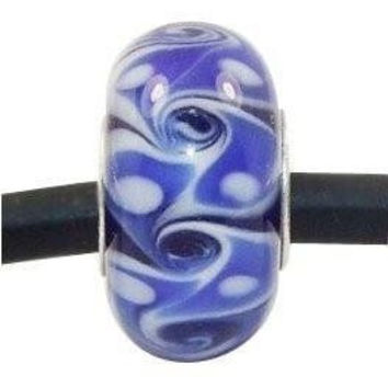 European charm glass bead dark blue white