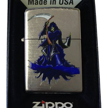 Zippo Custom Lighter - Skull Grim Reaper of Death w/ Sythe Chrome Arch 24647CI015945