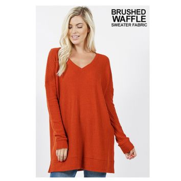 Cozy Me, V Neck Waffle Knit Rust Sweater