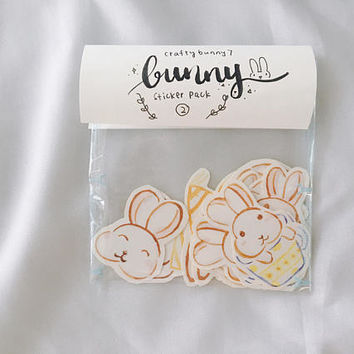 Bunny stickers, Planner stickers, Cute stickers pack, Handdrawn stickers, Rabbit stickers, Cute stickers, Watercolour stickers