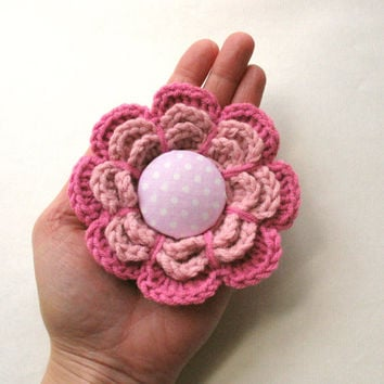 Crochet Flower Brooch in Pretty Pink with Polka dot button accent, gift for her, Barrette, Brooch pin