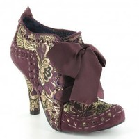 Irregular Choice Abigails Party Womens Leather And Brocade 4-Eyelet Court Shoes - Purple + Gold