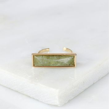Rectangle Crystal Ring Green