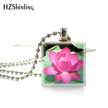 2018 New Fashion Beautiful and Elegant Lovely Flower Silver Necklace Scrabble Pendant Ball Chain Necklace  Wooden Tile Jewelry