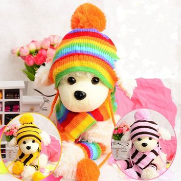 1Pack=3 kinds Winter Warm  Fashion Stripe Knitted Pet Dog Hat+Scarf+Socks Costume Clothing XS/S/M/L